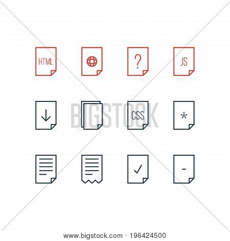 Editable Pack Of Munus, Done, Copy And Other Elements. Vector Illustration Of 12 Document Icons.