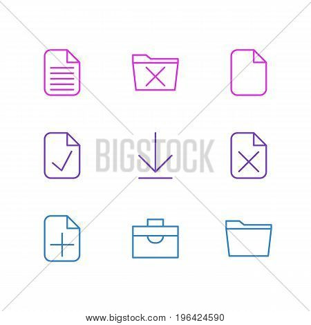 Vector Illustration Of 9 Office Icons. Editable Pack Of Delete, Blank, Remove And Other Elements.
