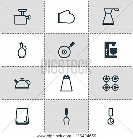 Vector Illustration Of 12 Restaurant Icons. Editable Pack Of Glass Cup, Furnace, Skillet And Other Elements.