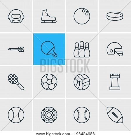 Editable Pack Of Bowling, Puck, Ice Boot And Other Elements. Vector Illustration Of 16 Sport Icons.