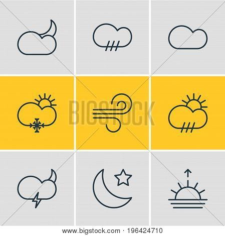 Editable Pack Of Sunny, Weather, Crescent And Other Elements. Vector Illustration Of 9 Weather Icons.