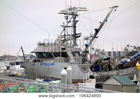 OXNARD CA USA - JULY 4 2013: Fishing boat STELLAR at the dock in Oxnard marina Ventura county Southern California Pacific coast