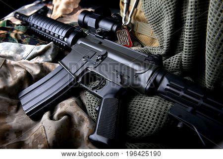 American Machine Gun In Army Background .