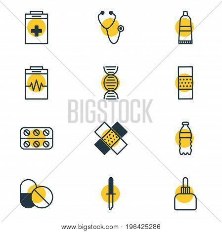 Vector Illustration Of 12 Medical Icons. Editable Pack Of Tube, Pipette, Plastic Bottle And Other Elements.