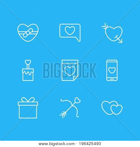 Editable Pack Of Arrow , Smartphone , Candle Elements. Vector Illustration Of 9 Love Icons.