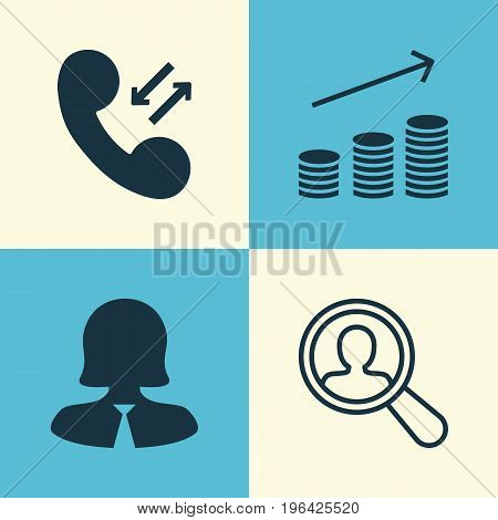 Management Icons Set. Collection Of Coin, Businesswoman, Find Employee And Other Elements