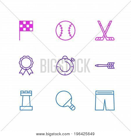 Vector Illustration Of 9 Fitness Icons. Editable Pack Of Award, Finish, Pawn And Other Elements.
