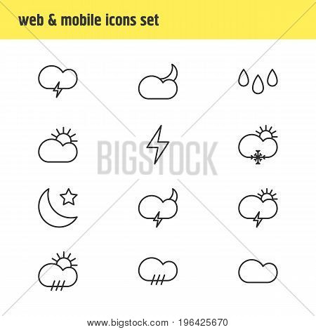 Vector Illustration Of 12 Sky Icons. Editable Pack Of Rain, Lightning, Sun And Other Elements.
