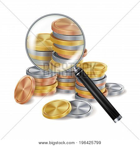 Money And Magnifying Glass Vector. Coins. Business Concept. Isolated Illustration