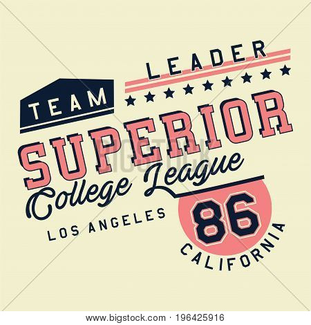 graphic design SUPERIOR COLLEGE LEAGUE for shirt and print