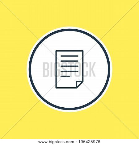 Vector Illustration Of File Outline. Beautiful Page Element Also Can Be Used As Document Element.