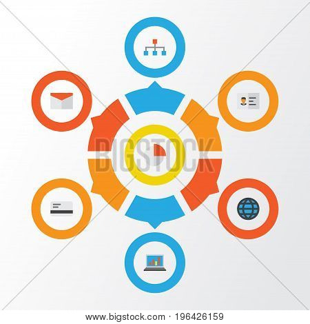 Business Flat Icons Set. Collection Of Hierarchy, Payment, Pie Bar And Other Elements