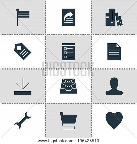 Editable Pack Of Messages, Bookshelf, Coupon And Other Elements. Vector Illustration Of 12 Online Icons.