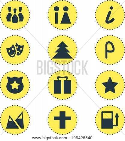Vector Illustration Of 12 Location Icons. Editable Pack Of Cop, Skittles, Map Information And Other Elements.