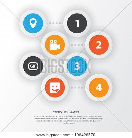 Internet Icons Set. Collection Of Chat, Pin, Gif Sticker And Other Elements