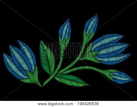 Embroidery stitches imitation ethnic floral pattern with flower. Vector embroidery traditional folk flowers ornament on black background.