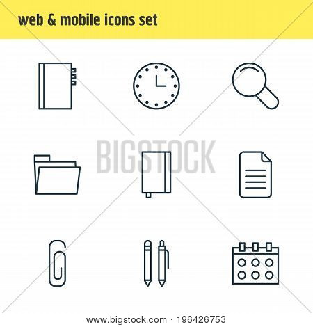 Vector Illustration Of 9 Stationery Icons. Editable Pack Of Zoom, Watch, Dossier And Other Elements.