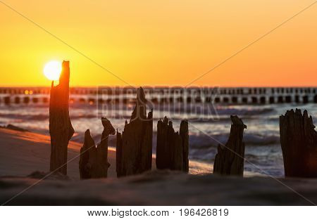 Sunset over the Baltic Sea against the background of old wooden breakwaters