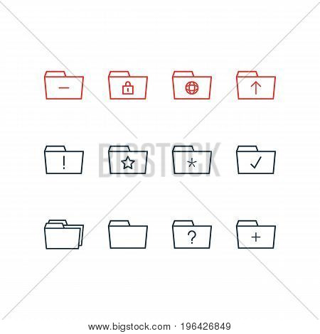 Vector Illustration Of 12 Document Icons. Editable Pack Of Significant, Dossier, Done And Other Elements.