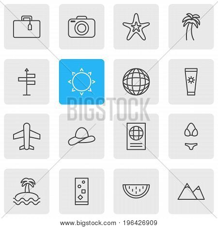 Editable Pack Of Sunny, Cocktail, Palm And Other Elements. Vector Illustration Of 16 Season Icons.