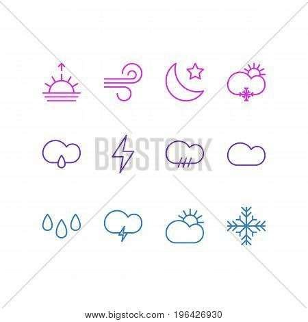Editable Pack Of Fulminant, Rainy, Drip And Other Elements. Vector Illustration Of 12 Sky Icons.