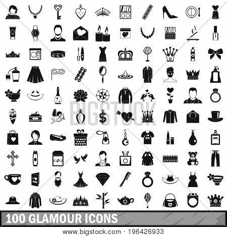 100 glamour icons set in simple style for any design vector illustration