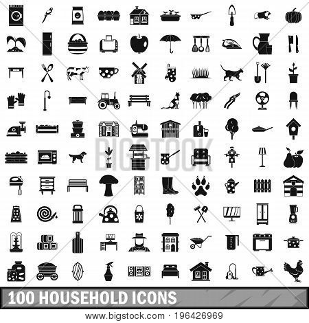 100 household icons set in simple style for any design vector illustration