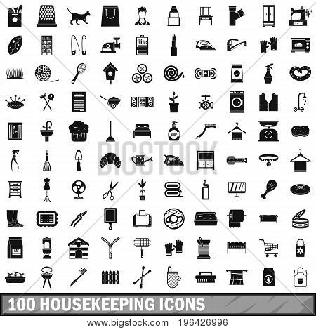100 housekeeping icons set in simple style for any design vector illustration