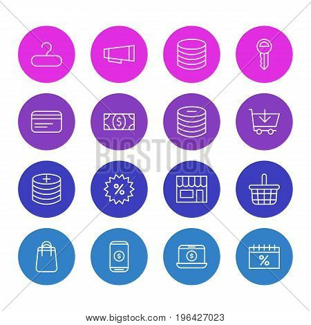 Editable Pack Of Pottle, Money, Minus And Other Elements. Vector Illustration Of 16 Commerce Icons.