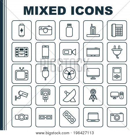 Gadget Icons Set. Collection Of Personal Computer, Surveillance, Extension Cord And Other Elements