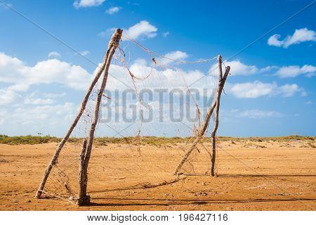 Lonely football goal at La Guajira desert