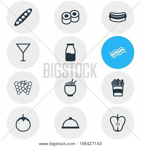 Vector Illustration Of 12 Eating Icons. Editable Pack Of Jonagold, Martini, Potato And Other Elements.
