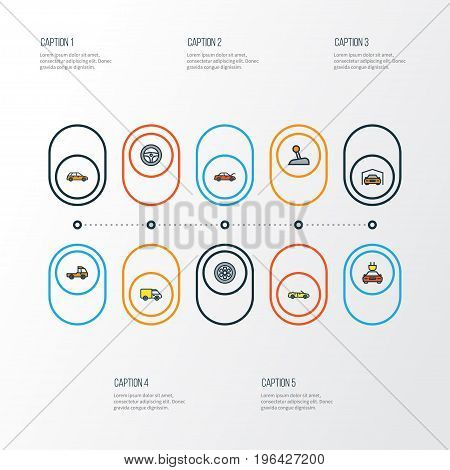 Auto Colorful Outline Icons Set. Collection Of Machine, Drive, Bonnet And Other Elements