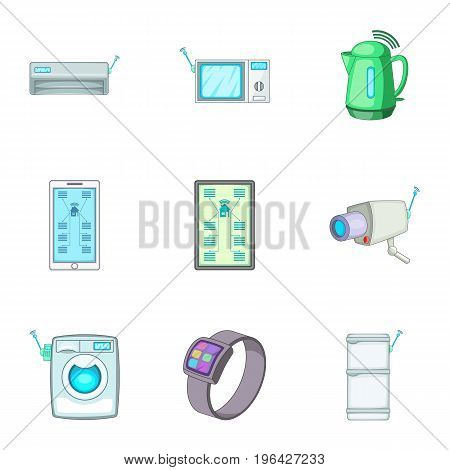 Smart home automation technology icons set. Cartoon set of 9 smart home automation technology vector icons for web isolated on white background