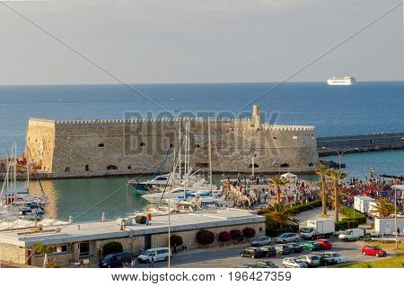 View of the old medieval Venetian fortress in the harbor of Heraklion. Crete. Greece.