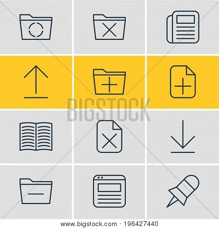 Editable Pack Of Deleting Folder, Page, Add And Other Elements. Vector Illustration Of 12 Workplace Icons.