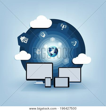 round blue design with a computer, a tablet, a laptop and a Mobile phone, a wireless connection, a computer cloud