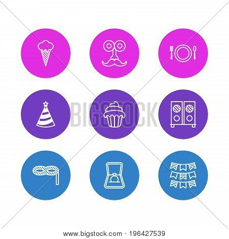Vector Illustration Of 9 Banquet Icons. Editable Pack Of Cutlery, Cap, Speaker And Other Elements.