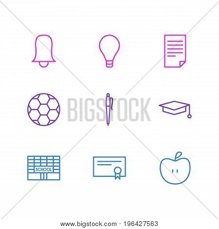 Editable Pack Of Paper, Football, Cap And Other Elements. Vector Illustration Of 9 Education Icons.