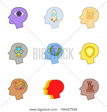 Creative thoughts inside man head icons set. Cartoon set of 9 creative thoughts inside man head vector icons for web isolated on white background