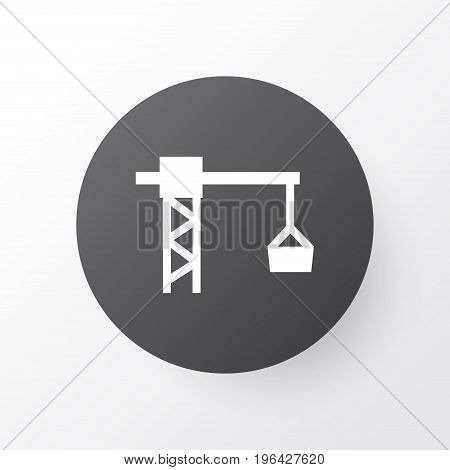 Premium Quality Isolated Lifting Hook Element In Trendy Style. Tower Crane Icon Symbol.