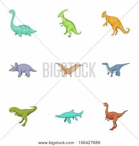 Dinosaurs icons set. Cartoon set of 9 dinosaurs vector icons for web isolated on white background