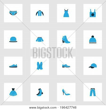 Clothes Colorful Icons Set. Collection Of Skirt, Sneakers, Underwear And Other Elements