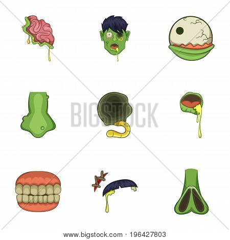 Zombie icons set. Cartoon set of 9 zombie vector icons for web isolated on white background