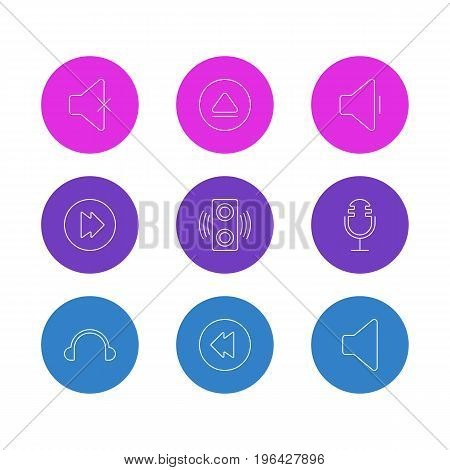 Editable Pack Of Advanced, Speaker, Rewind And Other Elements. Vector Illustration Of 9 Melody Icons.