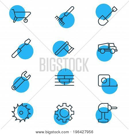 Vector Illustration Of 12 Structure Icons. Editable Pack Of Handcart, Lorry, Circle Blade Elements.