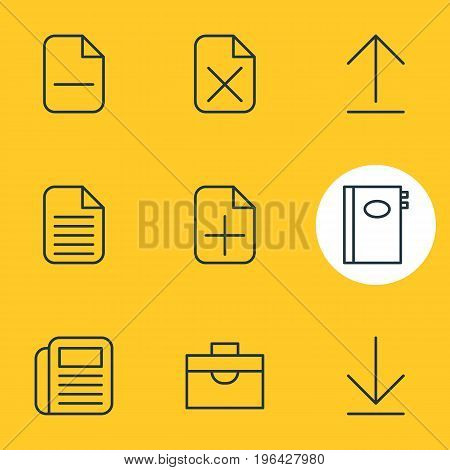 Editable Pack Of Book, Minus, Install And Other Elements. Vector Illustration Of 9 Bureau Icons.