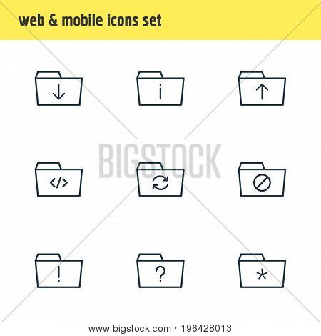 Vector Illustration Of 9 Dossier Icons. Editable Pack Of Upload, Locked, Important And Other Elements.