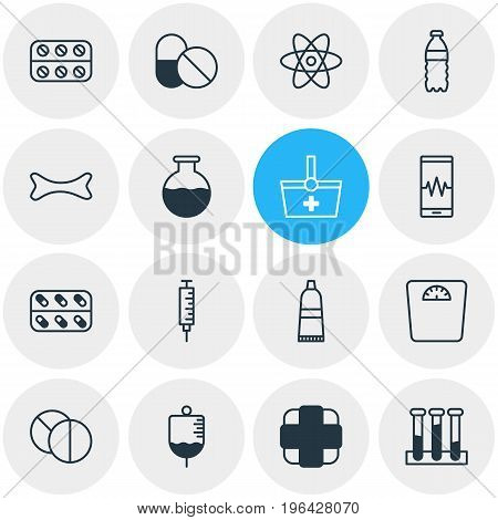 Editable Pack Of Weighing, Antibiotic, Antibody And Other Elements. Vector Illustration Of 16 Medical Icons.