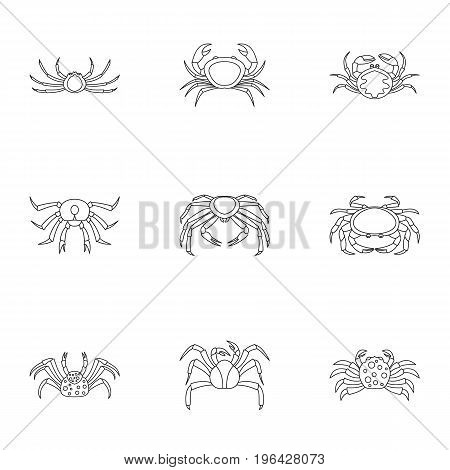 Overland crab icons set. Outline set of 9 overland crab vector icons for web isolated on white background
